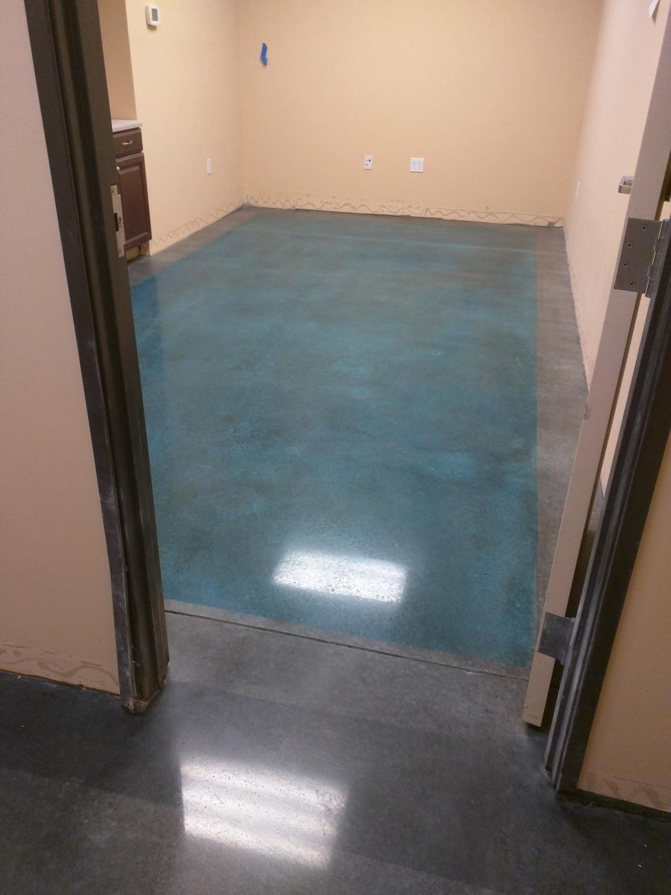 Polished Concrete Floor Colored Caribbean Blue With Borders