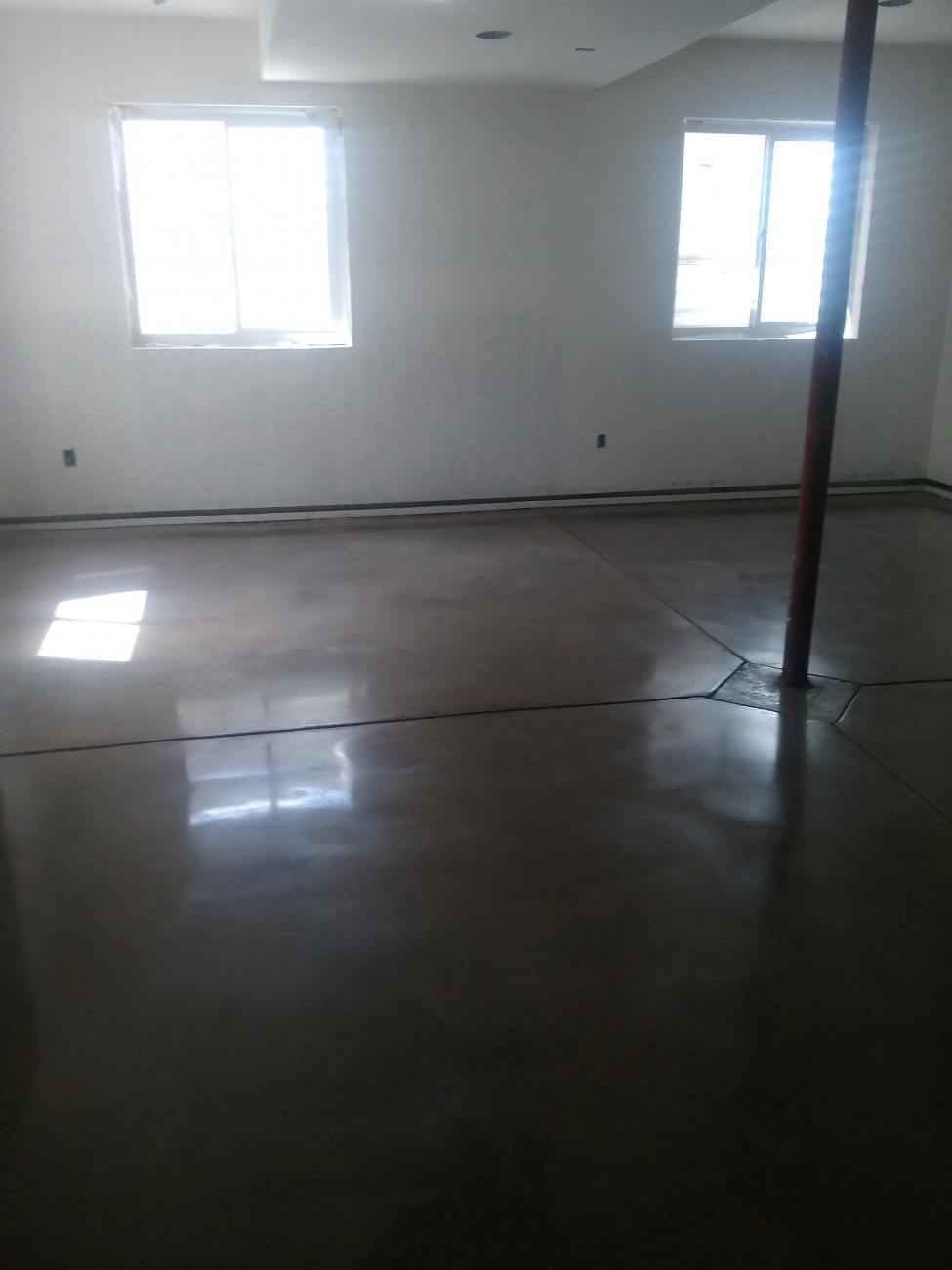 Polished Concrete Floor In A Residential Basement