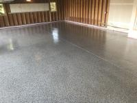 Parker Colorado epoxy flake floor job with a polyaspartic clear coat.