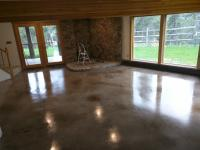 Stained and sealed concrete in Morrison Colorado basement remodel.