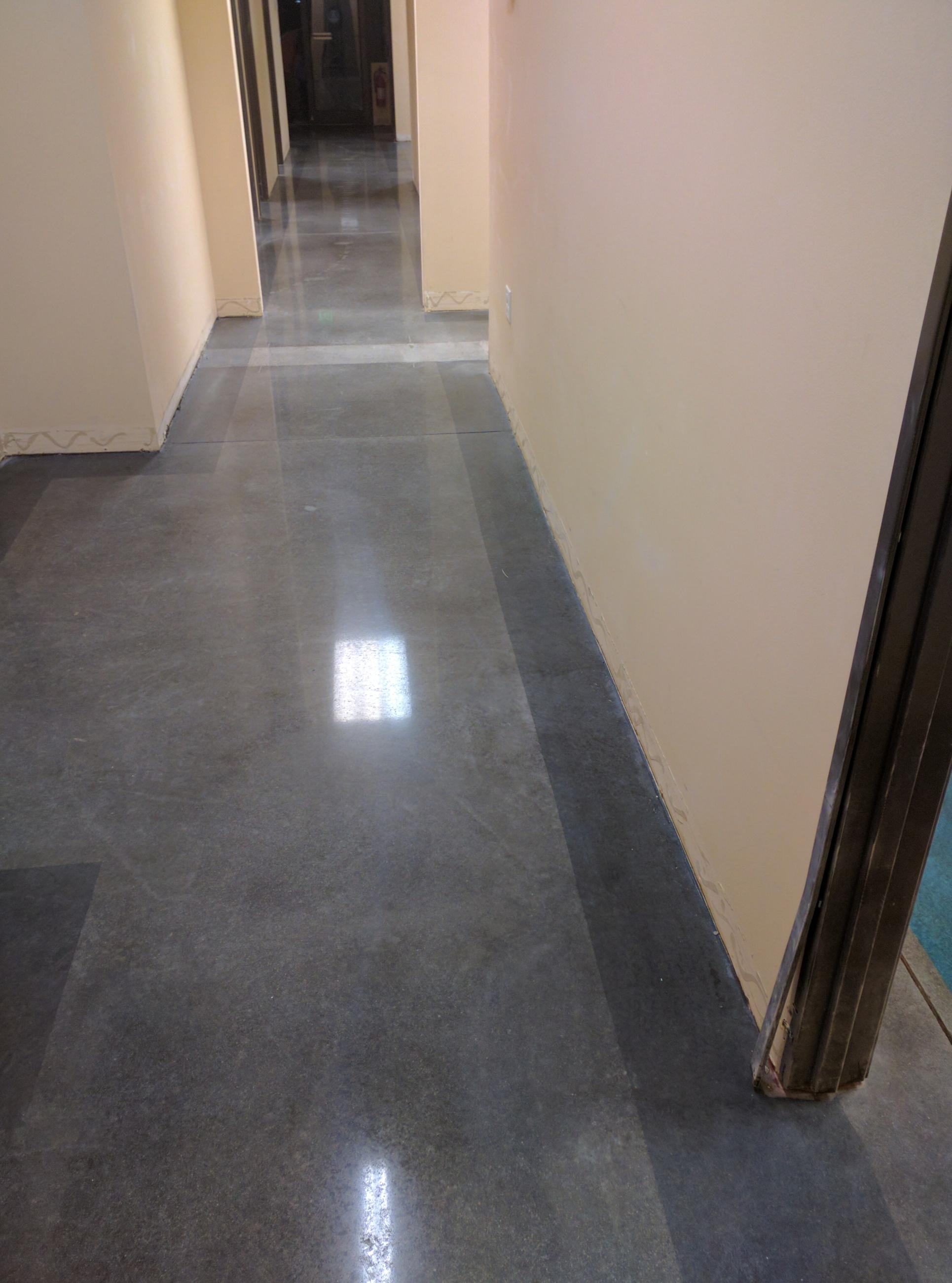 polished concrete floor colored concrete gray in center with black borders
